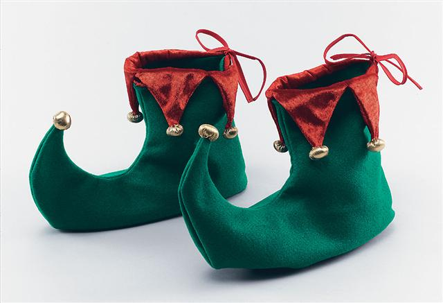 Xmas Green & Red Elf / Pixie Shoes - Unisex one size